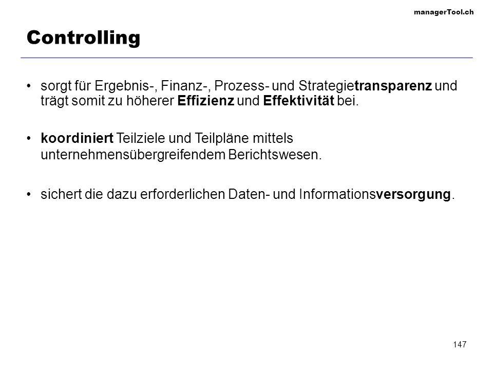 managerTool.ch 147 Controlling sorgt für Ergebnis-, Finanz-, Prozess- und Strategietransparenz und trägt somit zu höherer Effizienz und Effektivität b