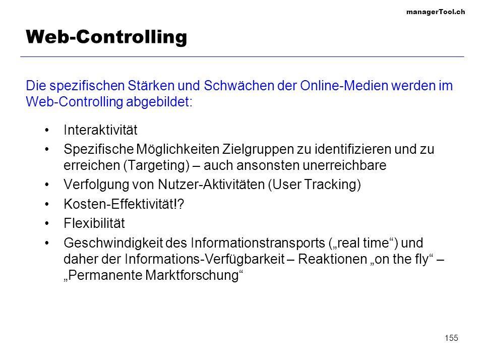 managerTool.ch 155 Web-Controlling Die spezifischen Stärken und Schwächen der Online-Medien werden im Web-Controlling abgebildet: Interaktivität Spezi