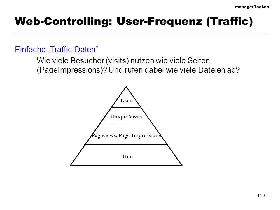 managerTool.ch 159 Web-Controlling: User-Tracking User Tracking – dem Nutzer auf der Spur – Der Nutzer-Lebenszyklus (1) Reichweite = Alle erreichten Internet-Nutzer (2) Ansprache= Nutzer lässt sich auf die Site ein (3) Nutzung Inhalte = Nutzer beschäftigt sich mit dem Content (4) Kern-Nutzer= Nutzer folgt dem vorgegebenen Pfad und konsumiert die Inhalte (5) Konversion= Gewünschte Nutzer-Aktion (6) Bindung= Intensiv- und Mehrfach-Nutzer (7) Loyaler Nutzer = Wiederholte Aktionen über langen Zeitraum Agent - Weiterempfehlung