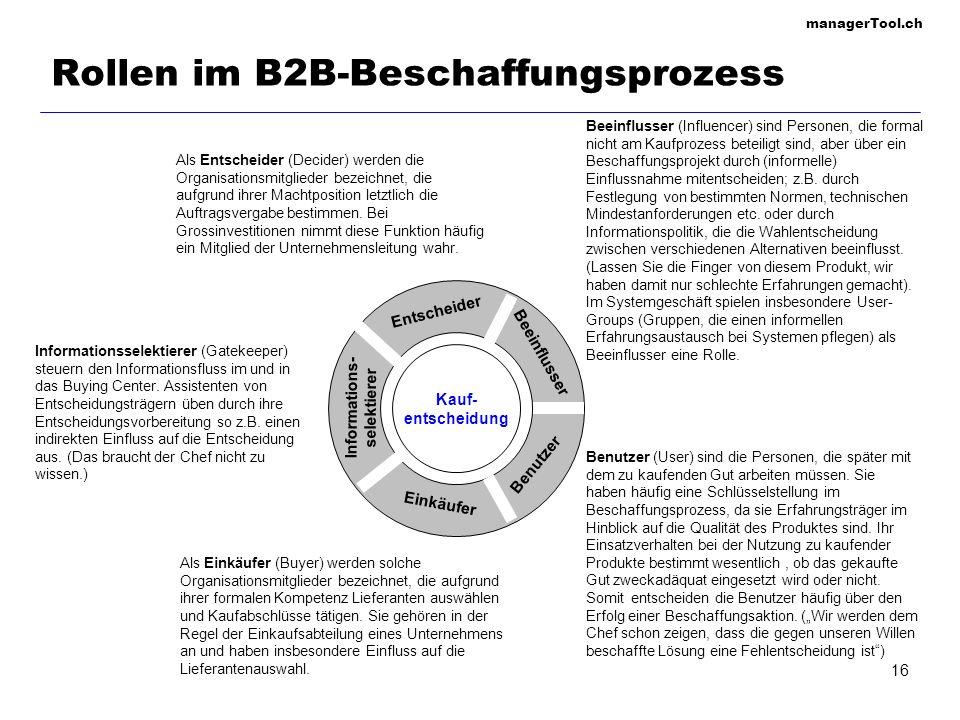 managerTool.ch 16 Rollen im B2B-Beschaffungsprozess Als Entscheider (Decider) werden die Organisationsmitglieder bezeichnet, die aufgrund ihrer Machtp