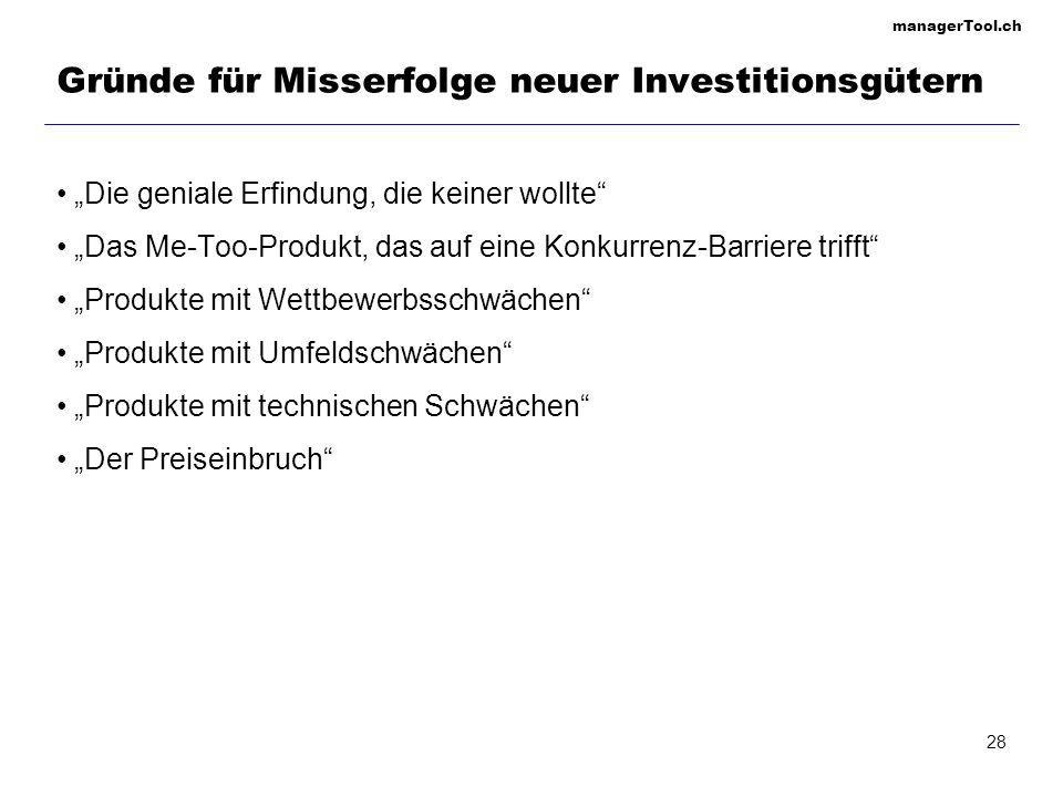 managerTool.ch 28 Gründe für Misserfolge neuer Investitionsgütern Die geniale Erfindung, die keiner wollte Das Me-Too-Produkt, das auf eine Konkurrenz