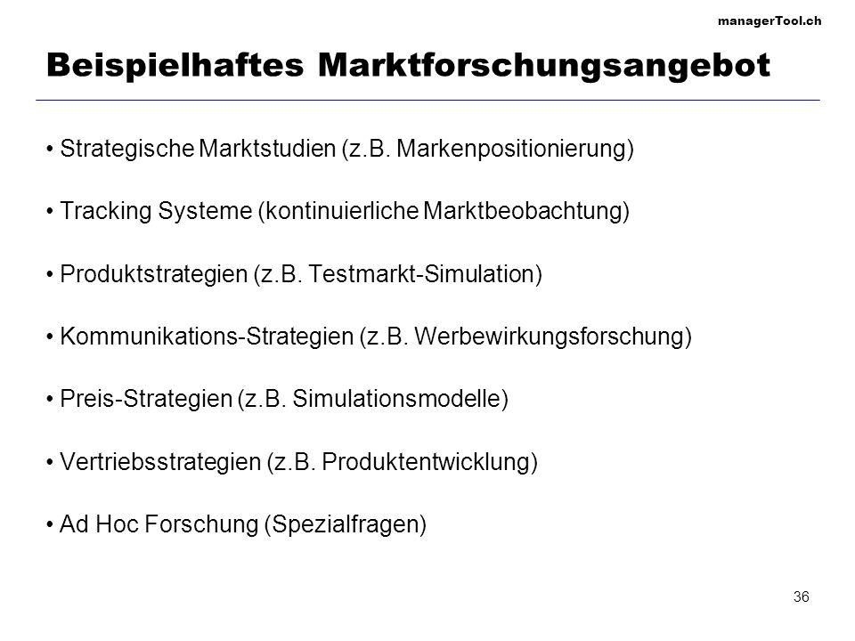 managerTool.ch 36 Beispielhaftes Marktforschungsangebot Strategische Marktstudien (z.B. Markenpositionierung) Tracking Systeme (kontinuierliche Marktb