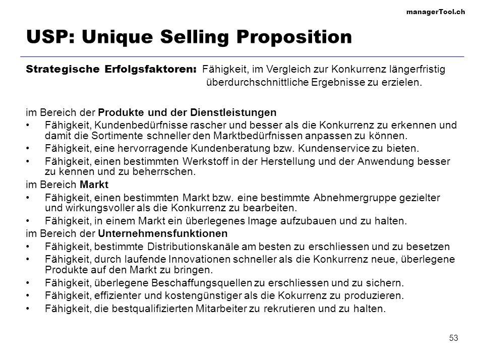 managerTool.ch 54 Marktsegmentierungsstrategien undifferenzierte Marktstrategie differenzierte Marktstrategie konzentrierte Marktstrategie Gesamtmarkt Marktsegment 1 Marktsegment 2 Marktsegment 3 Marktsegment