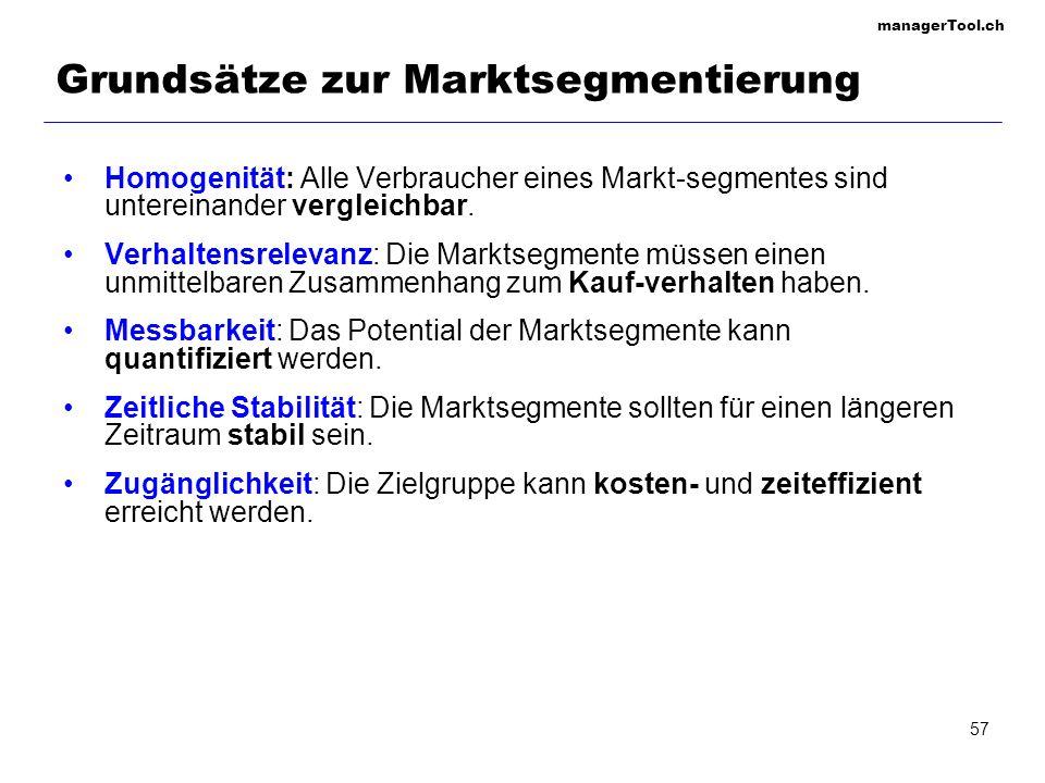 managerTool.ch 57 Grundsätze zur Marktsegmentierung Homogenität: Alle Verbraucher eines Markt-segmentes sind untereinander vergleichbar. Verhaltensrel