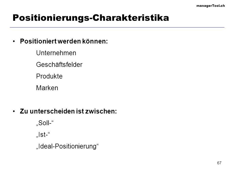 managerTool.ch 67 Positionierungs-Charakteristika Positioniert werden können: Unternehmen Geschäftsfelder Produkte Marken Zu unterscheiden ist zwische
