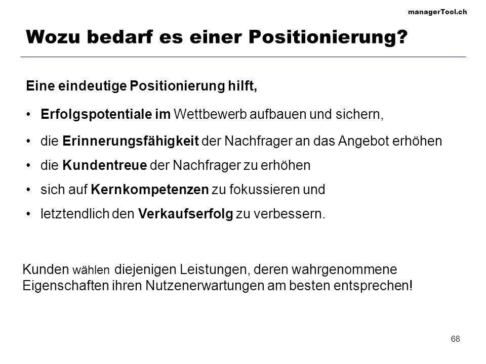 managerTool.ch 68 Wozu bedarf es einer Positionierung? Eine eindeutige Positionierung hilft, Erfolgspotentiale im Wettbewerb aufbauen und sichern, die