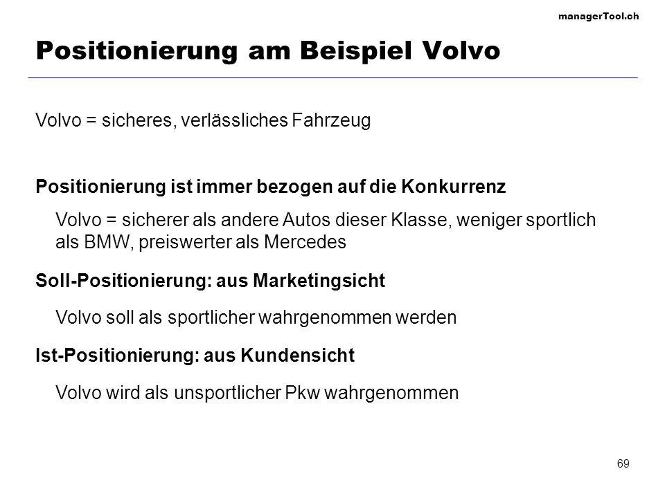 managerTool.ch 69 Positionierung am Beispiel Volvo Volvo = sicheres, verlässliches Fahrzeug Positionierung ist immer bezogen auf die Konkurrenz Volvo