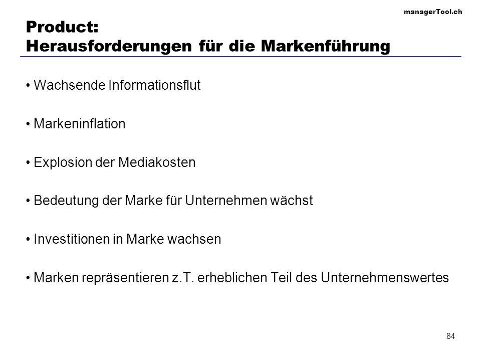 managerTool.ch 84 Product: Herausforderungen für die Markenführung Wachsende Informationsflut Markeninflation Explosion der Mediakosten Bedeutung der