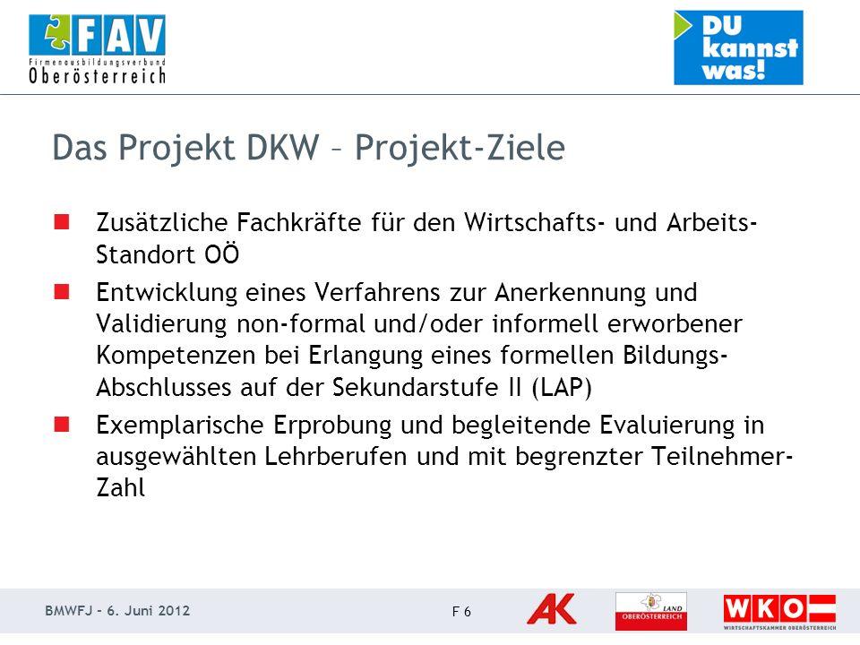 BMWFJ - 6.Juni 2012 F 7 Das Projekt DKW - Zielgruppe Bildungsferne bzw.
