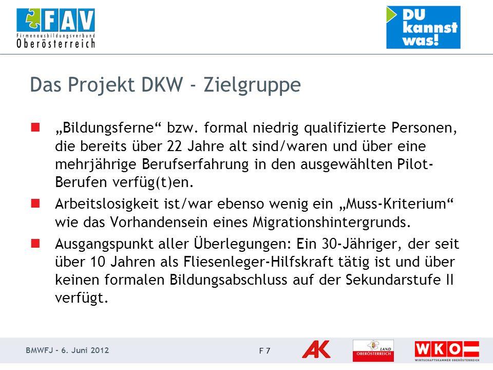 BMWFJ - 6. Juni 2012 F 7 Das Projekt DKW - Zielgruppe Bildungsferne bzw.