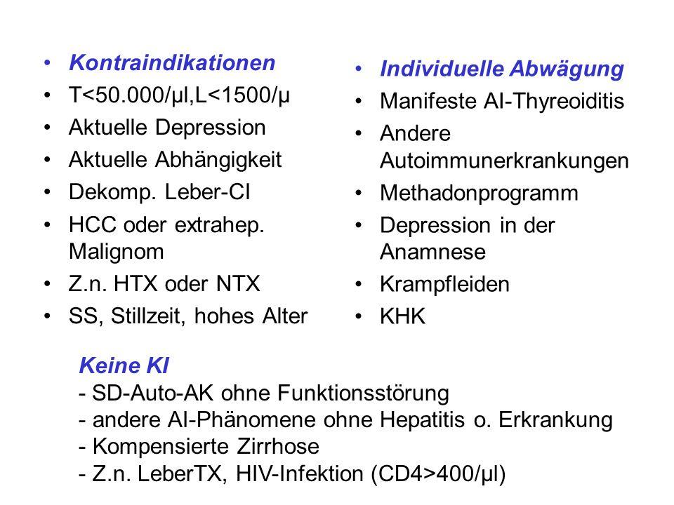 Kontraindikationen T<50.000/µl,L<1500/µ Aktuelle Depression Aktuelle Abhängigkeit Dekomp. Leber-CI HCC oder extrahep. Malignom Z.n. HTX oder NTX SS, S
