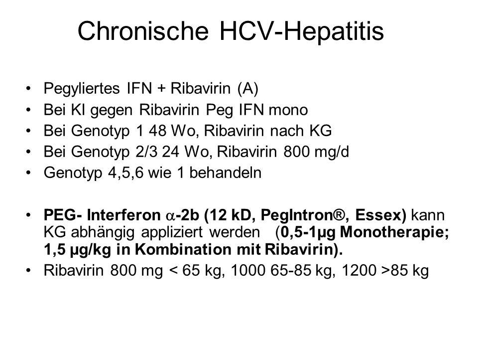 Chronische HCV-Hepatitis Pegyliertes IFN + Ribavirin (A) Bei KI gegen Ribavirin Peg IFN mono Bei Genotyp 1 48 Wo, Ribavirin nach KG Bei Genotyp 2/3 24