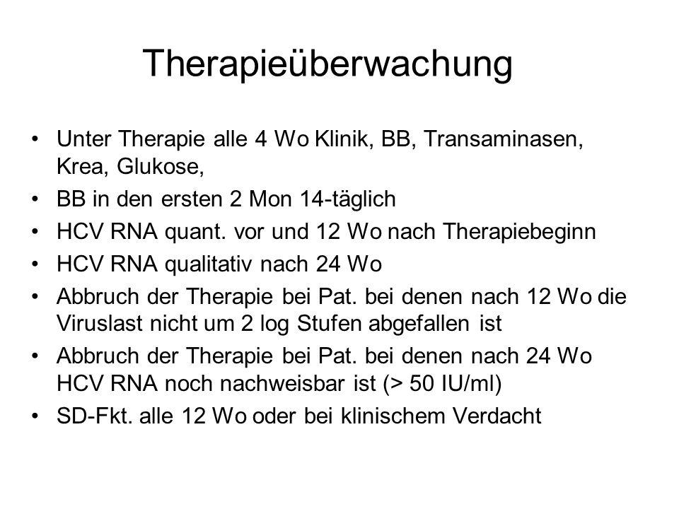 Therapieüberwachung Unter Therapie alle 4 Wo Klinik, BB, Transaminasen, Krea, Glukose, BB in den ersten 2 Mon 14-täglich HCV RNA quant. vor und 12 Wo