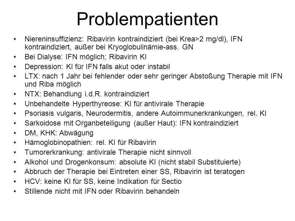 Problempatienten Niereninsuffizienz: Ribavirin kontraindiziert (bei Krea>2 mg/dl), IFN kontraindiziert, außer bei Kryoglobulinämie-ass. GN Bei Dialyse