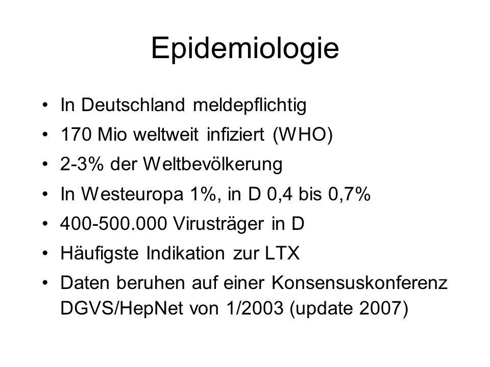 Epidemiologie In Deutschland meldepflichtig 170 Mio weltweit infiziert (WHO) 2-3% der Weltbevölkerung In Westeuropa 1%, in D 0,4 bis 0,7% 400-500.000
