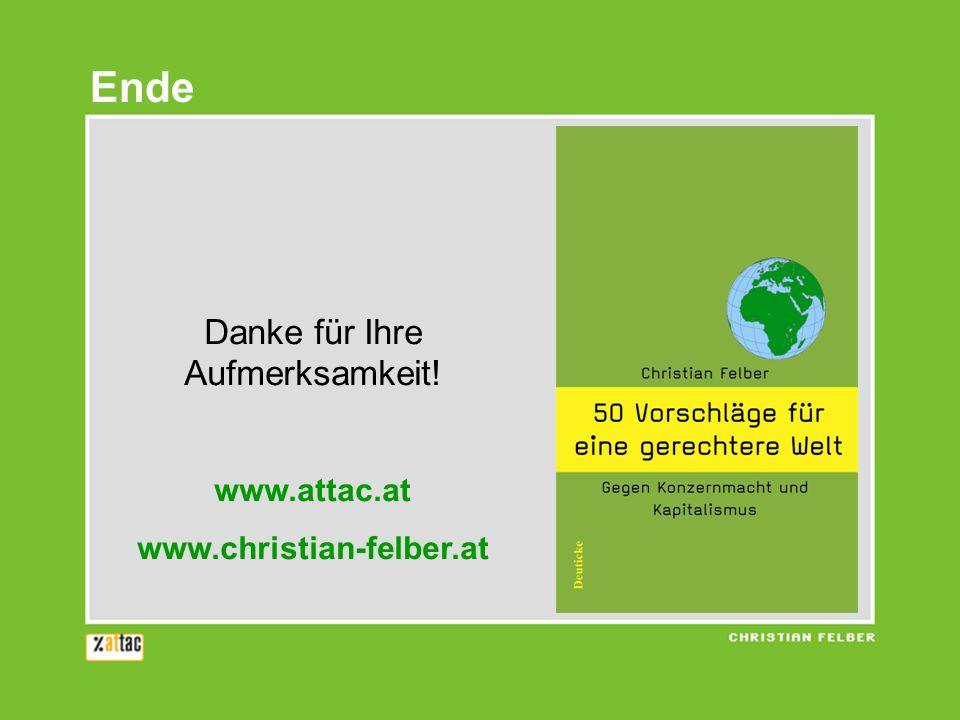 Danke für Ihre Aufmerksamkeit! www.attac.at www.christian-felber.at Ende