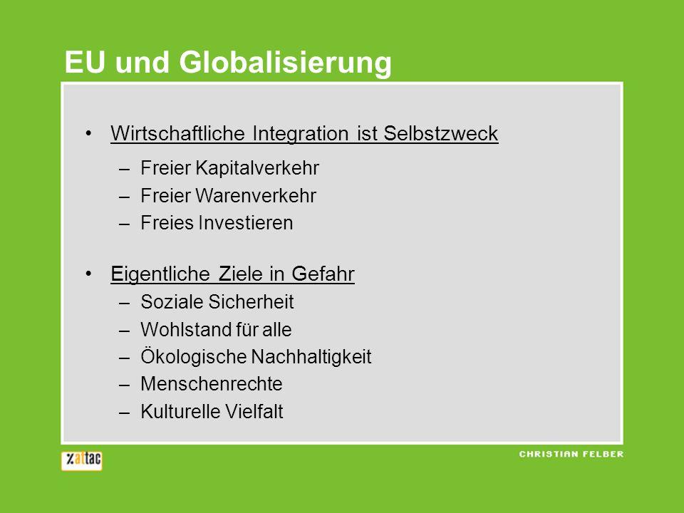 Wirtschaftliche Integration ist Selbstzweck –Freier Kapitalverkehr –Freier Warenverkehr –Freies Investieren Eigentliche Ziele in Gefahr –Soziale Siche