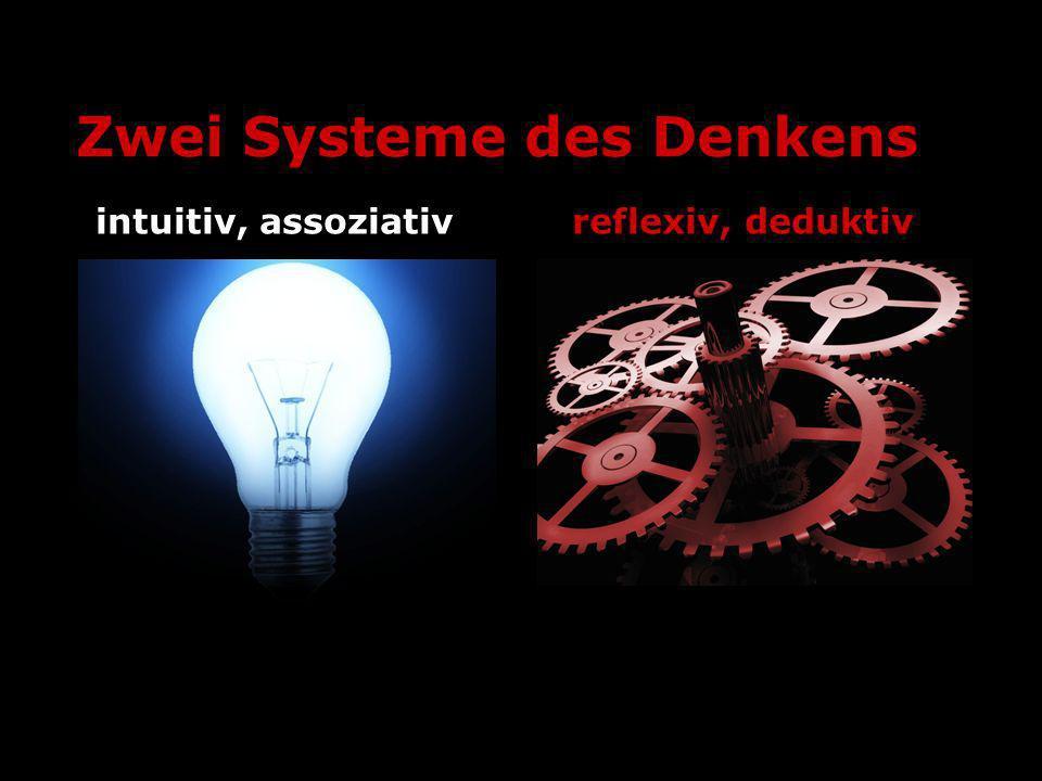 Zwei Systeme des Denkens intuitiv, assoziativreflexiv, deduktiv