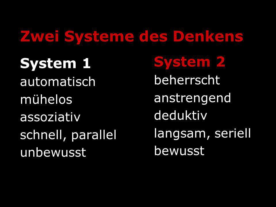 Zwei Systeme des Denkens System 1 automatisch mühelos assoziativ schnell, parallel unbewusst System 2 beherrscht anstrengend deduktiv langsam, seriell