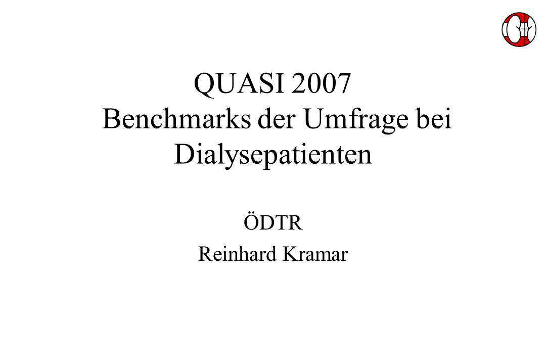 QUASI 2007 Benchmarks der Umfrage bei Dialysepatienten ÖDTR Reinhard Kramar