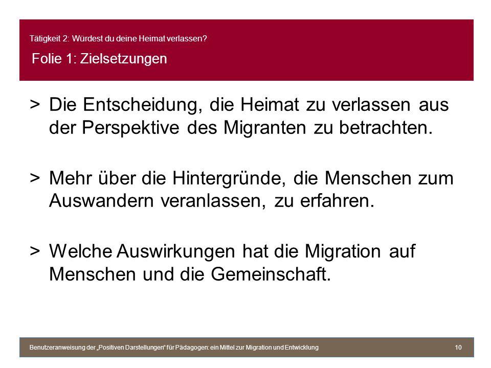 Tätigkeit 2: Würdest du deine Heimat verlassen? Folie 1: Zielsetzungen >Die Entscheidung, die Heimat zu verlassen aus der Perspektive des Migranten zu