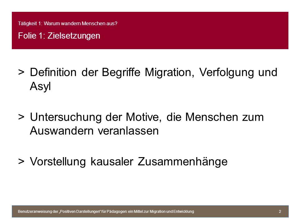 Tätigkeit 1: Warum wandern Menschen aus? Folie 1: Zielsetzungen >Definition der Begriffe Migration, Verfolgung und Asyl >Untersuchung der Motive, die