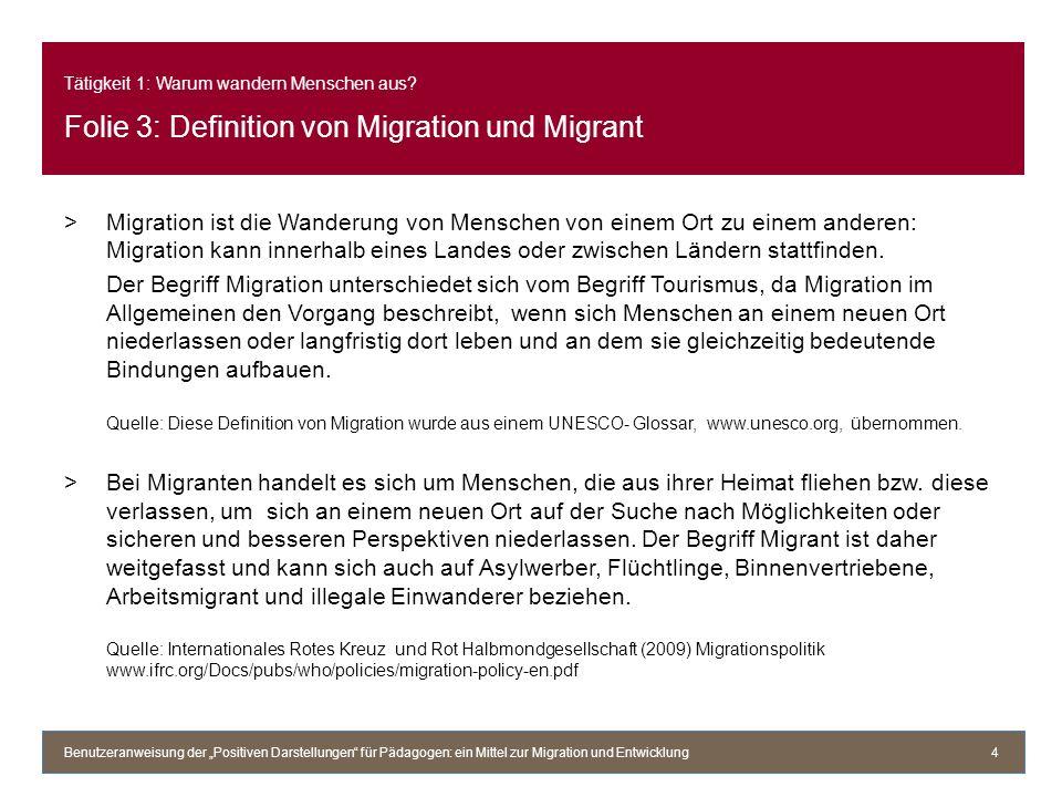 Tätigkeit 1: Warum wandern Menschen aus? Folie 3: Definition von Migration und Migrant >Migration ist die Wanderung von Menschen von einem Ort zu eine