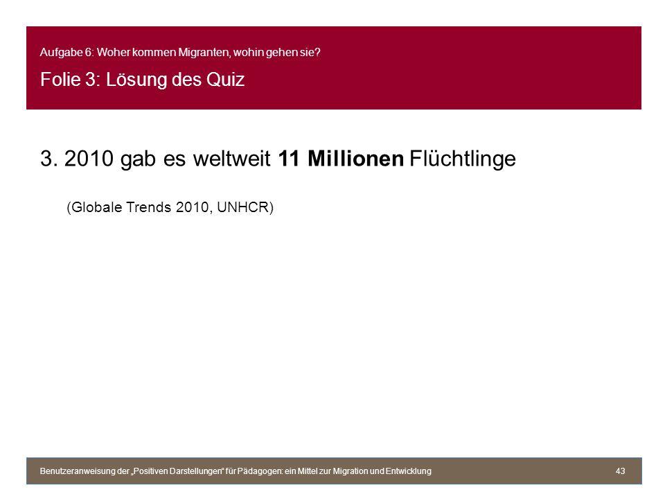 Aufgabe 6: Woher kommen Migranten, wohin gehen sie? Folie 3: Lösung des Quiz 3. 2010 gab es weltweit 11 Millionen Flüchtlinge (Globale Trends 2010, UN