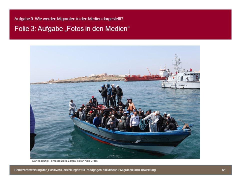 Aufgabe 9: Wie werden Migranten in den Medien dargestellt? Folie 3: Aufgabe Fotos in den Medien Benutzeranweisung der Positiven Darstellungen für Päda