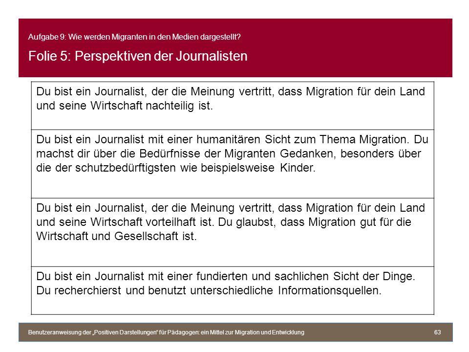 Aufgabe 9: Wie werden Migranten in den Medien dargestellt? Folie 5: Perspektiven der Journalisten Benutzeranweisung der Positiven Darstellungen für Pä