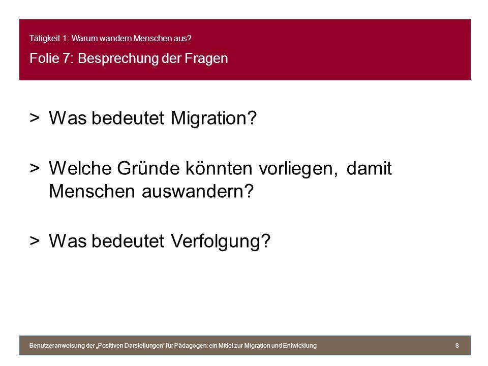 Tätigkeit 1: Warum wandern Menschen aus? Folie 7: Besprechung der Fragen >Was bedeutet Migration? >Welche Gründe könnten vorliegen, damit Menschen aus