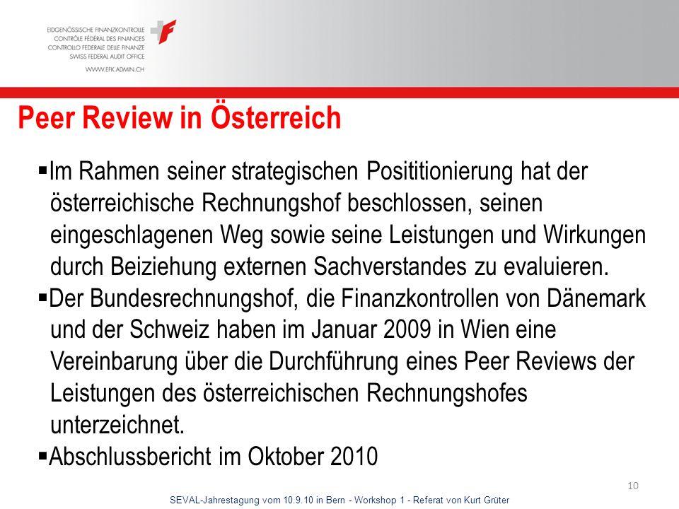 SEVAL-Jahrestagung vom 10.9.10 in Bern - Workshop 1 - Referat von Kurt Grüter 10 Peer Review in Österreich Im Rahmen seiner strategischen Posititionie