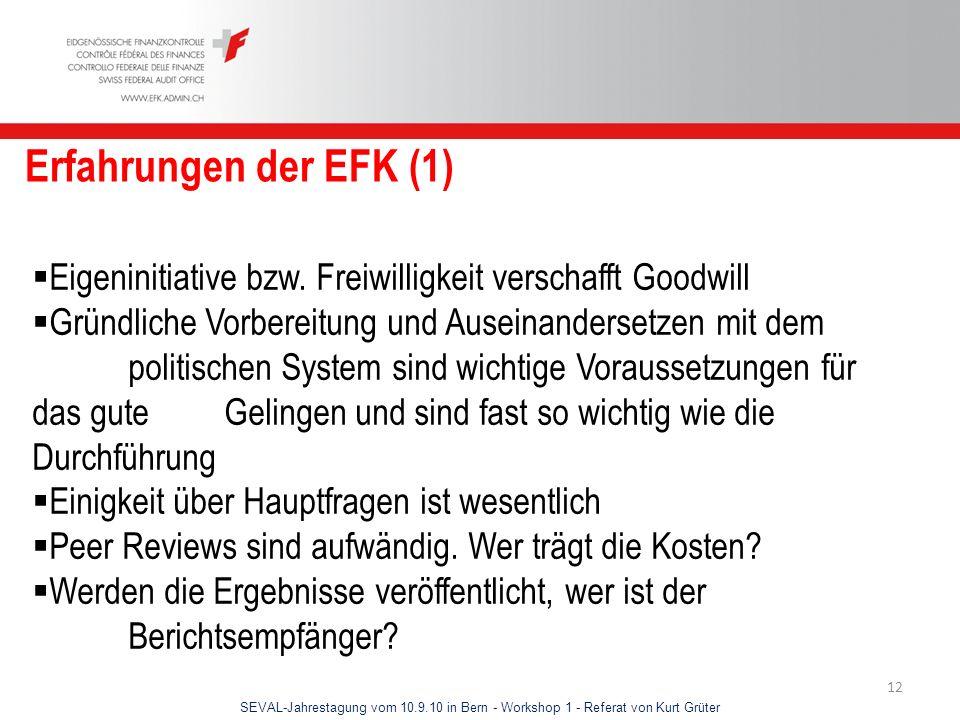 SEVAL-Jahrestagung vom 10.9.10 in Bern - Workshop 1 - Referat von Kurt Grüter 12 Erfahrungen der EFK (1) Eigeninitiative bzw. Freiwilligkeit verschaff