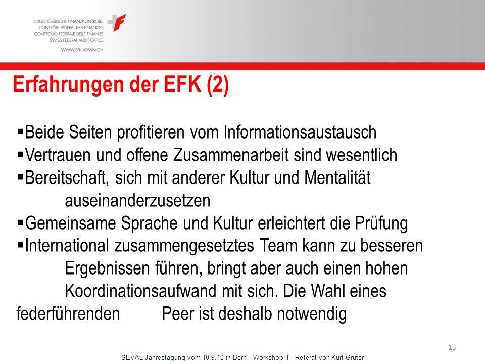 SEVAL-Jahrestagung vom 10.9.10 in Bern - Workshop 1 - Referat von Kurt Grüter 13 Erfahrungen der EFK (2) Beide Seiten profitieren vom Informationsaust