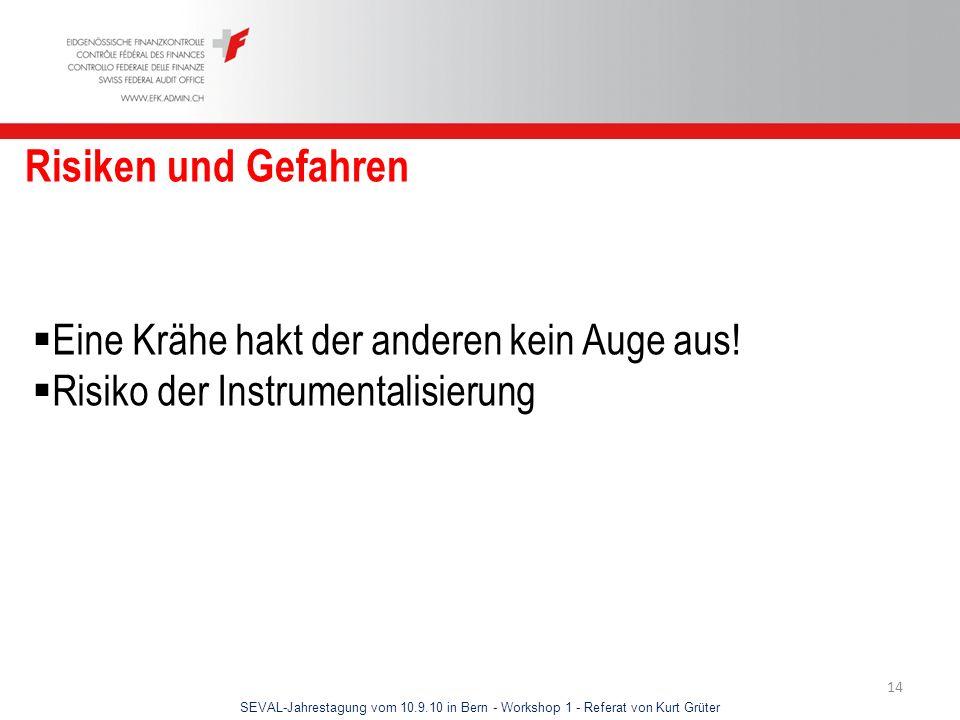 SEVAL-Jahrestagung vom 10.9.10 in Bern - Workshop 1 - Referat von Kurt Grüter 14 Risiken und Gefahren Eine Krähe hakt der anderen kein Auge aus! Risik