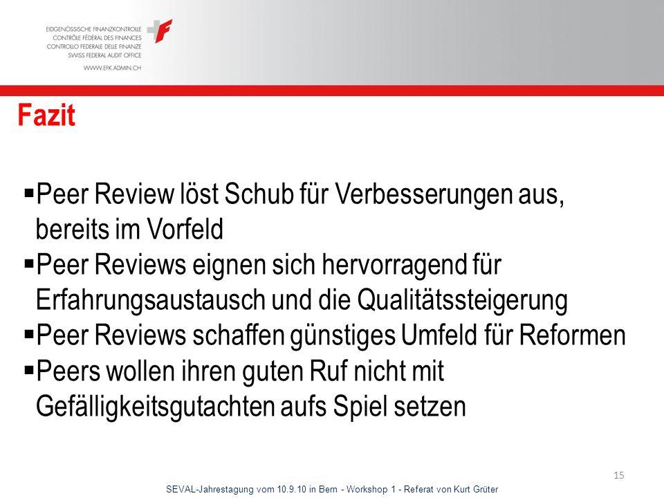 SEVAL-Jahrestagung vom 10.9.10 in Bern - Workshop 1 - Referat von Kurt Grüter 15 Fazit Peer Review löst Schub für Verbesserungen aus, bereits im Vorfe
