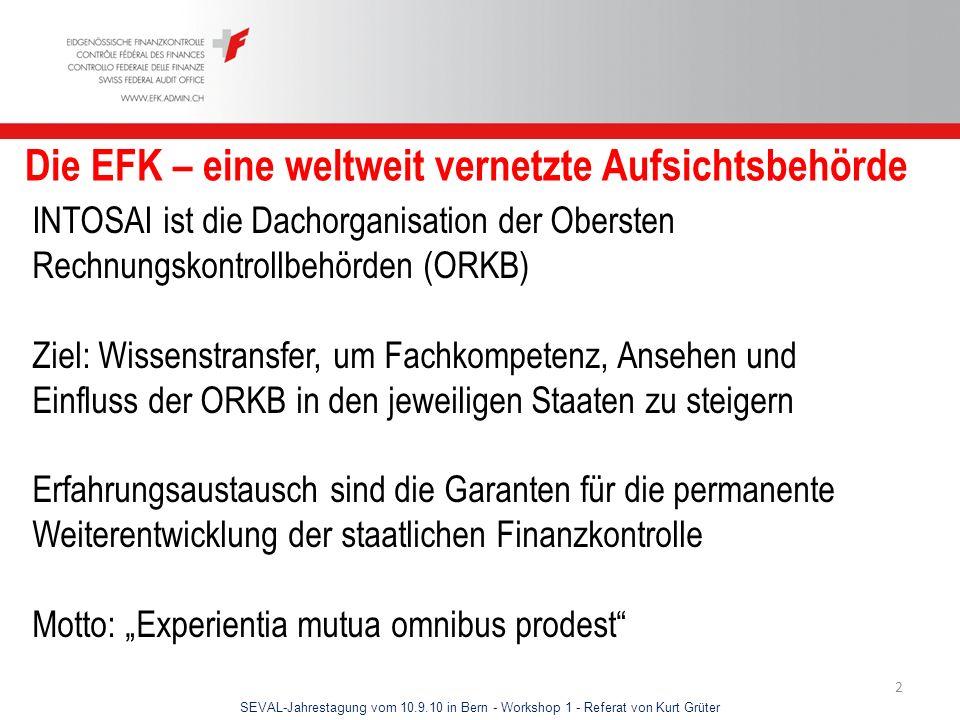 SEVAL-Jahrestagung vom 10.9.10 in Bern - Workshop 1 - Referat von Kurt Grüter 2 Die EFK – eine weltweit vernetzte Aufsichtsbehörde INTOSAI ist die Dac