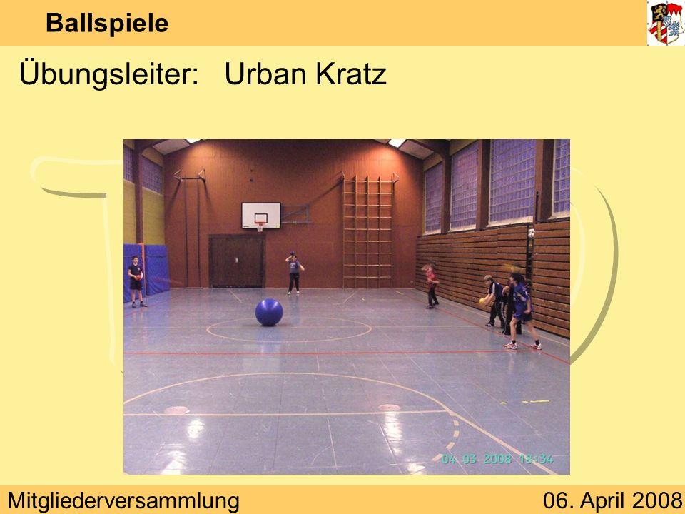 Mitgliederversammlung06. April 2008 Ballspiele Übungsleiter:Urban Kratz