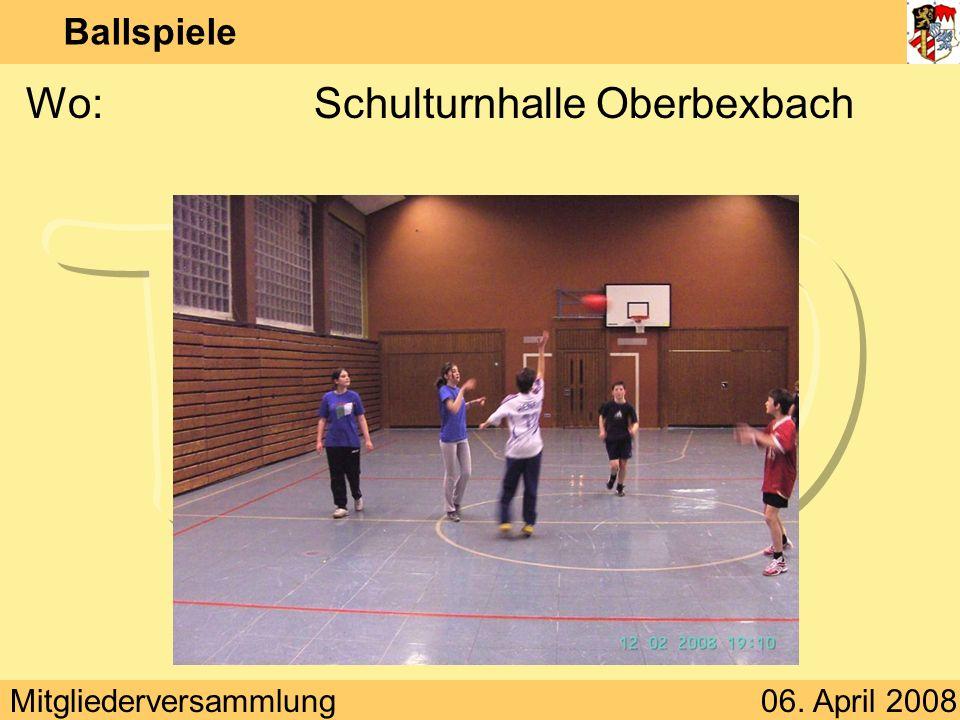 Mitgliederversammlung06. April 2008 Ballspiele Wann:Dienstag 18:00 – 19:30 Uhr
