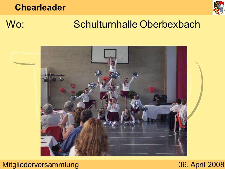 Mitgliederversammlung06. April 2008 Chearleader Wann:Donnerstag 17:00 – 19:00 Uhr