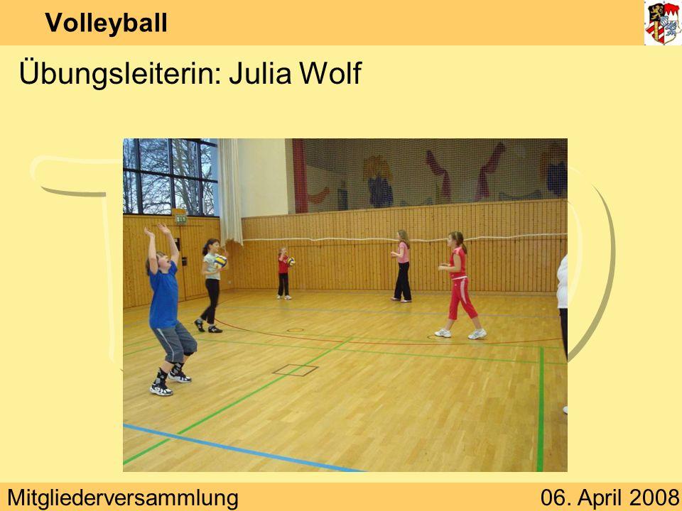 Mitgliederversammlung06. April 2008 Volleyball Übungsleiterin: Julia Wolf