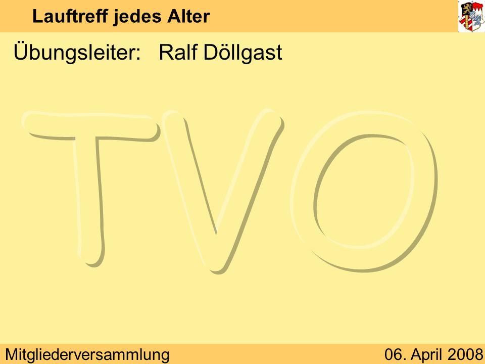 Mitgliederversammlung06. April 2008 Lauftreff jedes Alter Übungsleiter:Ralf Döllgast