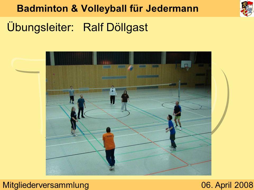 Mitgliederversammlung06. April 2008 Badminton & Volleyball für Jedermann Übungsleiter:Ralf Döllgast