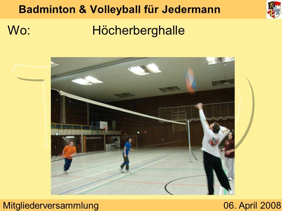 Mitgliederversammlung06. April 2008 Badminton & Volleyball für Jedermann Wo:Höcherberghalle