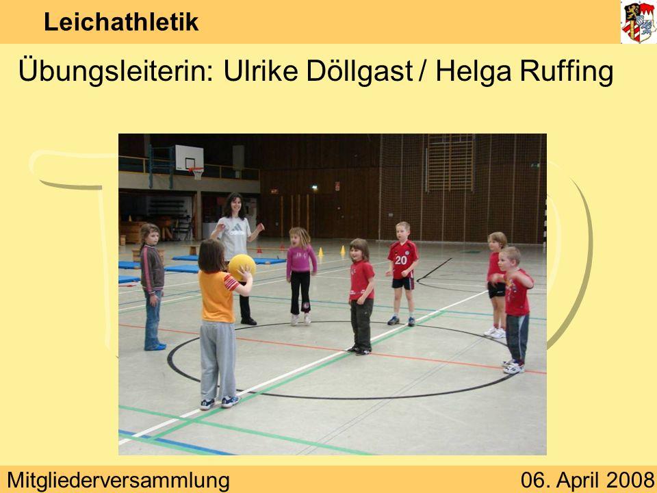 Mitgliederversammlung06. April 2008 Leichathletik Übungsleiterin: Ulrike Döllgast / Helga Ruffing