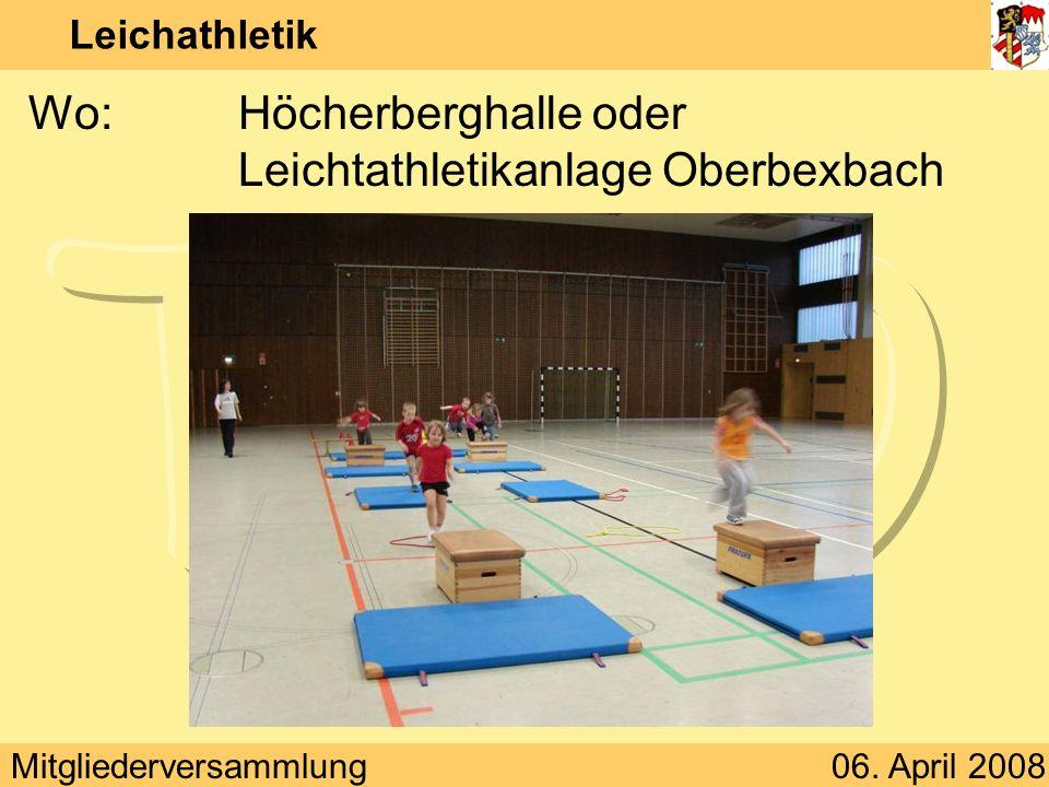 Mitgliederversammlung06. April 2008 Leichathletik Wo:Höcherberghalle oder Leichtathletikanlage Oberbexbach
