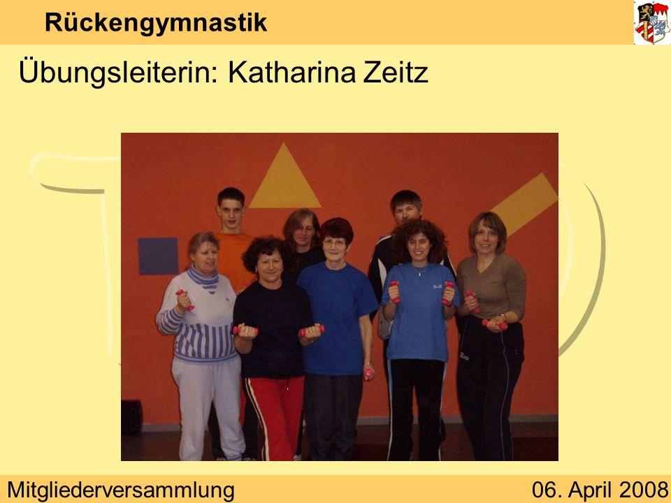 Mitgliederversammlung06. April 2008 Rückengymnastik Übungsleiterin: Katharina Zeitz