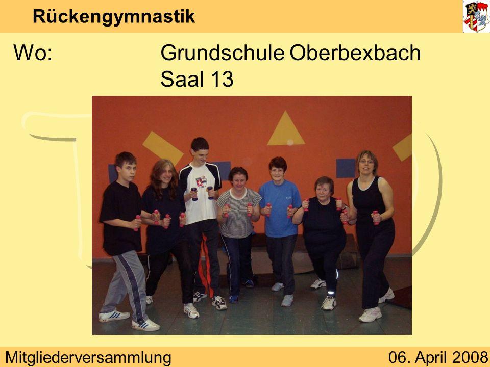 Mitgliederversammlung06. April 2008 Rückengymnastik Wann:Montag 18:30 – 19:30 Uhr