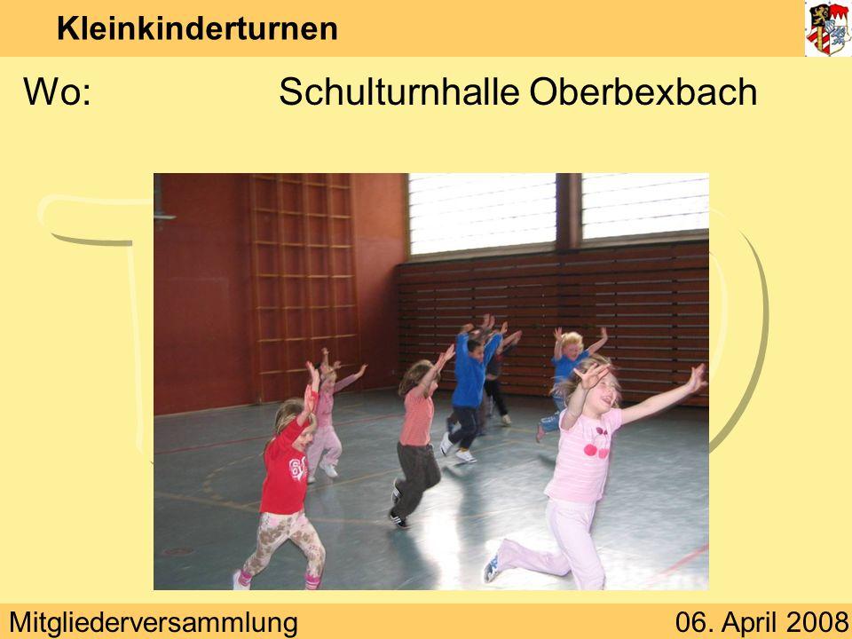 Mitgliederversammlung06. April 2008 Kleinkinderturnen Wann:Freitag 15:00 – 16:00 Uhr