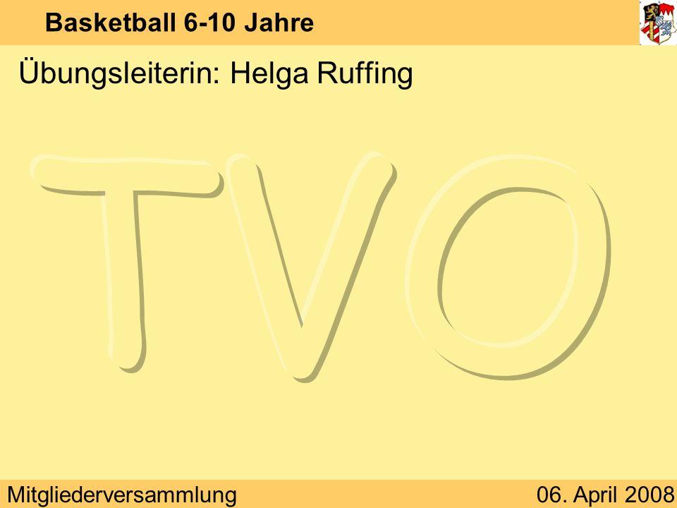 Mitgliederversammlung06. April 2008 Basketball 6-10 Jahre Übungsleiterin: Helga Ruffing